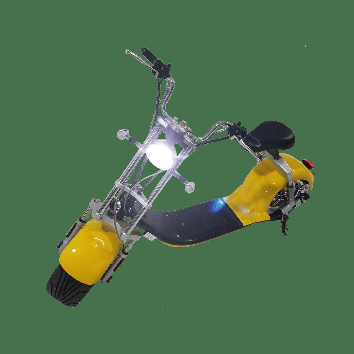 Citycoco Harley Deluxe Jaune avec 1 batterie offerte en plus